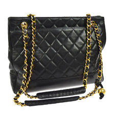 Auth CHANEL Quilted CC Chain Shoulder Tote Bag Black Leather Vintage GHW V20385