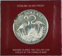 1974 Bahamas $2 Sterling Silver Proof Flamingo Coin