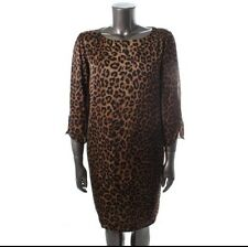 Jones NY Brown Satin Animal Print Dress $149 Sz. 18W