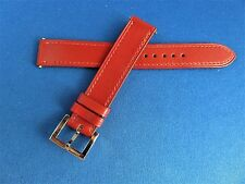 Authentic Hermes Red CALF Leather Watch Band   15MM x 14mm with BUCKLE NEW
