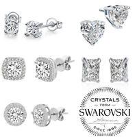 5Pairs Crystal Zircon Stainless Steel Earrings Sets Women Girl Ear Stud Jewelry
