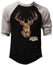 Men's Mossy Oak Camo Deer Black Baseball Raglan T-Shirt Outdoors Hunting Country