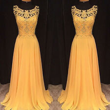 Ladies Elegant Beading Hollow Out Embroidery Evening Gown Party Club Maix Dress