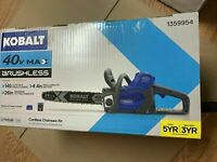 14-in Cordless Electric ChainsawKobalt 40-Volt Lithium IonW/ 4ah Battery 40v