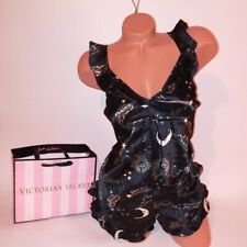 Victoria Secret Lingerie Romper One Piece Babydoll Large Ruffle Trim Black Satin