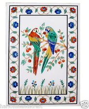 4'x2' Marble Dining Table Top Rare Parrots Art Inlaid Marquetry Home Decor H1485