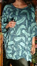 LuLaRoe NWT PLUS SZ 3XL 3X 4X TEAL BLUE LEAF PRINT STRETCH KNIT TUNIC TOP