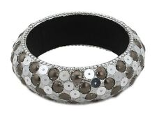 Zest Glittery Bangle with Mirrored Disks Bronze Brown & Silver