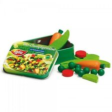 Wooden pretend role play food (Erzi) play kitchen, shop: Vegetables in a tin