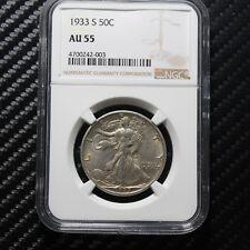 1933 S Walking Liberty Half Dollar NGC AU55