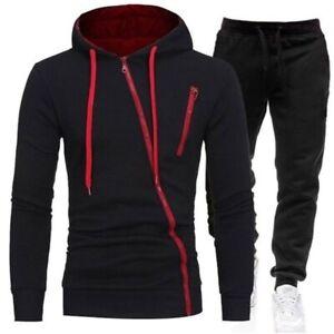 Men Long Sleeve Zip Hoodie Sweatshirt Pants Tracksuit Winter Outfit Set Cardigan