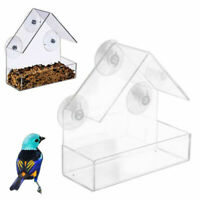 US Window Bird Feeder Wild Table Hanging Suction Perspex Clear Viewing Seed Tool