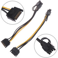 2pcs 15pin SATA Cable Male to 8pin(6+2) PCI-E Power Cable 20cm for Graphic Card