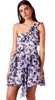 New ex Topshop Plum Floral One Shoulder Chiffon Party Dress RRP £55 Sizes 6 - 16