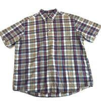 Ralph Lauren Polo Men's Plaid Short Sleeve Button Down Shirt Size L Red Yellow