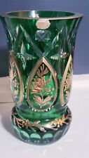 "BOHEMIA CYRSTAL CZECHOSLOVAKIA HEAVY GOLD CUT TO CLEAR 8"" GREEN VASE"