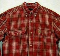 Wrangler Riggs Workwear Mens L Shirt Red Plaid Long Sleeve Button Up Cotton EUC