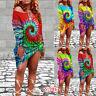 Women's Boho Tie Dye Long Sleeve Shirt Dress Summer Beach Casual Loose Sundress