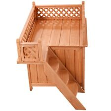 Wooden Puppy Dog House with Raised Roof Balcony Bed Shelter for Indoor & Outdoor