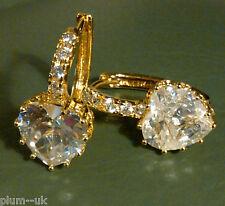 FH9 Diamond white sapphire hearts 18k gold Plum UK French Hoop Earrings BOXED