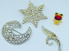Vintage Lot of 4 Rhinestone Brooch Pins for Repair Or Harvest~Need Stones