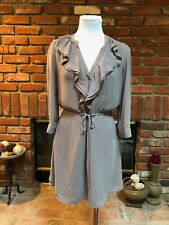 H&M Taupe Sheer Ruffle Cinch Tie Waisted Sexy Day to Evening Mini Dress sz 8
