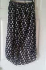 Gothic Black Hi Low Skirt with Crosses Size M