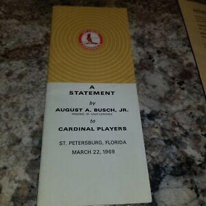 1969 St. Louis Cardinals Pamphlet A Statement By August Bush Jr Spring Training