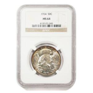 1954 U.S. Franklin Half Dollar graded MS 64 by NGC no. 4199101-045