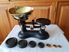 Vintage Victor England Black Cast Iron Kitchen Scales With Brass Pan and Weights