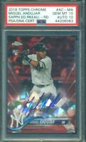 2018 Topps Chrome Sapphire Red Refractor Miguel Andujar RC Auto /10 PSA 10 10
