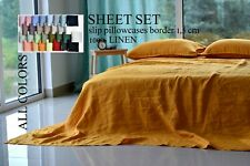Linen SHEET SET Bedding set Queen bedding set King SLIP Soft Lux bed sheet Shabb