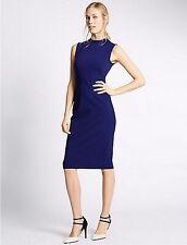 New Marks and Spencer Ponte Blue High Neck Bodycon Midi Dress Size 20 Reg BNWT