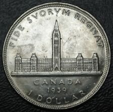 OLD CANADIAN COIN 1939 $1 DOLLAR - .800 SILVER - George VI - Nice HIGH GRADE