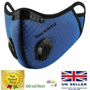 Reusable Washable Anti Pollution Face Mask PM2.5 One/Two Air Vent With Filter UK