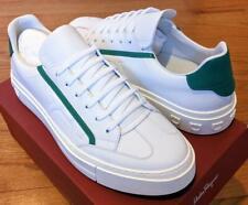 $595 Mens Authentic Salvatore Ferragamo Borg Leather Sneakers White/Green US 11
