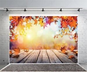 7x5FT Vinyl Photo Backdrops Autumn Maple Leaf Wooden Board Photography