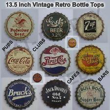 "Huge 13.5"" Vintage Retro Metal Bottle Top Sign's American Wall Decor Distressed"