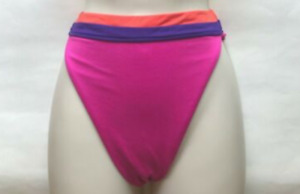 NEW VICTORIA'S SECRET Splice HIgh Leg High Waist Bikini Bottom Pink/Purple Small
