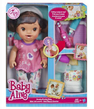 Baby Alive Brushy Baby Doll Brunette Brown Hair Toothbrush Bedtime Routine Train