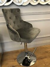 Rocco Grey Velvet Barstool With Studs. Brand new in box. Please see other items