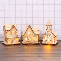 Wooden Dolls House LED Light Villa Christmas Ornaments Xmas Tree Hanging Decor