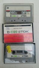 3x VINTAGE 1970s TDK D-C90 FERRIC BLANK AUDIO CASSETTE TAPE - USED
