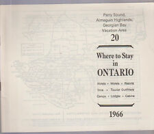 Where to Stay in Ontario Canada #20 1966 Parry Sound Almaguin Highlands