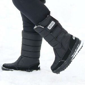 Mens Winter Snow Boots Outdoor Warm Fur Shoes Waterproof Mid-Calf Moon Boots