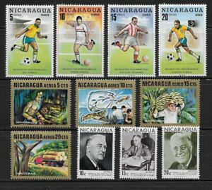 Nicaragua Stamps Group of 11 Different Mint Issues