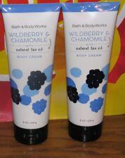 2 Bath Body Works WILDBERRY & CHAMOMILE Body Cream Natural TEA TREE OIL 8 oz