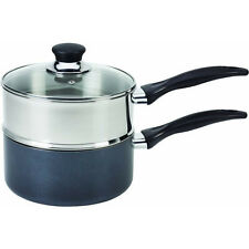 2-in-1 Sauce Pot & Steamer, 3 Qt. Non-Stick Saucepan Stainless Steel Insert Lid