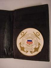 USCG US COAST GUARD AUXILIARY BLACK LEATHER BIFOLD CREDIT CARD WALLET ID NEW
