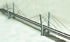 "N Scale 60"" (800') Cable-Stayed Suspension Train Bridge, Two Lane, Assembled"
